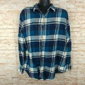 Heritage 100% cotton flannel Bluewith 2 pockets XL